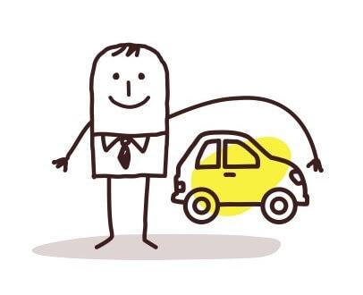 דמות של גבר מקיפה רכב בידה